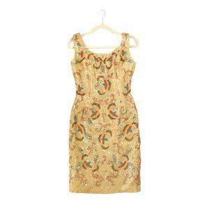 Unbranded vintage gold embroidered gold mini dress